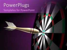 Audience pleasing presentation featuring a dart hitting at the center of the dartboard and purple background