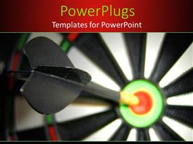 PPT theme having a dart hitting the target with blur background