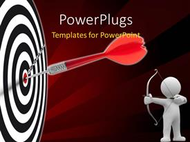 Beautiful presentation theme with a dart on target with a person aiming and brownish background