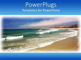 Amazing PPT theme consisting of day light view of a beach with sea waves on its shore
