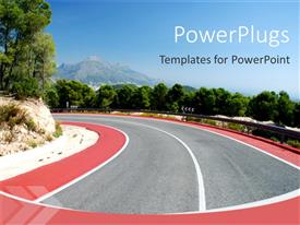 PPT theme featuring day light view of a high way with trees around