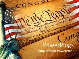 Amazing presentation theme consisting of declaration of independence american flag statue of liberty patriotism