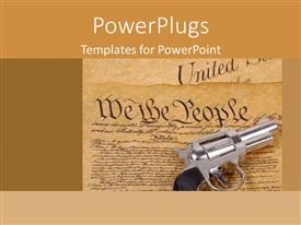 Slide deck with declaration of independence paper we the people and a retro gun on paper