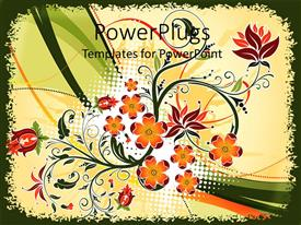 Theme with decorative orange and red flowers on abstract wave background