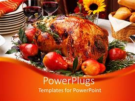 Colorful slide deck having delicious roasted turkey with savory vegetable side dishes in a fall theme