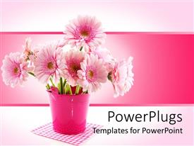 PPT theme with a depiction of a beautiful flower pot with pinkish background