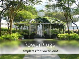 Audience pleasing presentation design featuring a depiction of a beautiful garden with a fountain in the middle