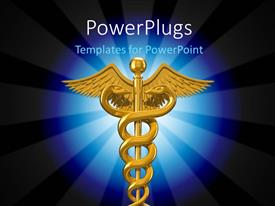Elegant PPT theme enhanced with depiction of caduceus symbol used in the medical profession