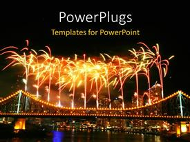 PPT layouts having depiction of celebration with fireworks in night sky over urban city