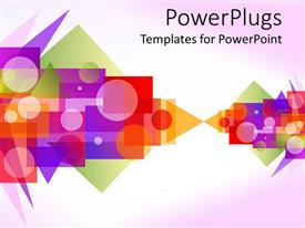Amazing slides consisting of a depiction of different shapes of various colors with light purple background