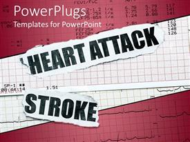 Amazing presentation theme consisting of a depiction of the ECG report along with mentioning heart attack and stroke