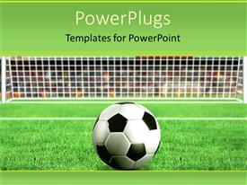 Football powerpoint templates ppt themes with football backgrounds colorful presentation having depiction of a football on grass in front of a net template size toneelgroepblik Gallery