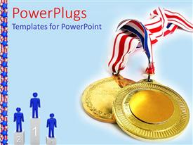 Colorful slide deck having a depiction of gold medals along with figures on the winning podium