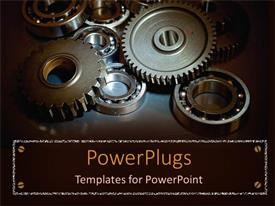 Presentation design featuring a depiction of a group of gears together with dark background