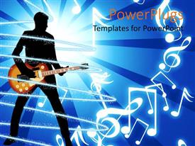 Jazz powerpoint templates ppt themes with jazz backgrounds ppt layouts with depiction of human figure playing a guitar on a blue background template size toneelgroepblik