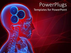 Beautiful PPT theme with depiction of a human skeletal system with gears for brains