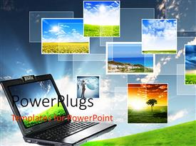Theme enhanced with a depiction of a laptop and different screen savers in the background