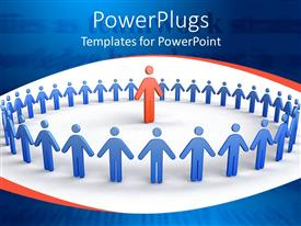 Presentation theme consisting of depiction of lots of blue colored people forming a circle round red figure