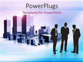 Colorful PPT layouts having depiction of mega structures with three men over blue background