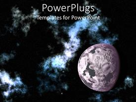 PPT theme featuring depiction of the moon in space, with galaxy and stars on dark background