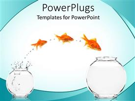 PPT layouts consisting of the depiction of motivation with a fish jumping from one place to another