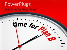 Colorful PPT theme having depiction of a nice clock with time for Plan B against a red background with keywords