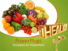 Presentation having a depiction of a number of fruits together at a place along with the word health