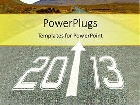 Presentation design with depiction of path leading to new year with mountains in distance