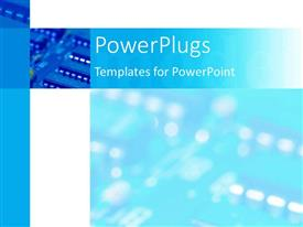 PPT theme featuring depiction of  a plain blue and white  background block