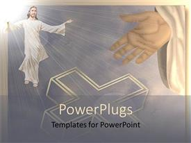 Amazing PPT layouts consisting of depiction of resurrection as Jesus rises into cloud with glow of light