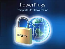 Amazing PPT theme consisting of a depiction of secure digital world with a bluish background