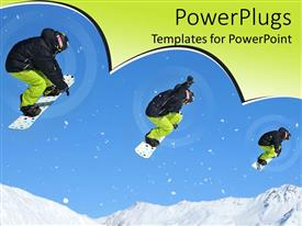 Colorful presentation theme having depiction of Snowboarder path as he jumps down from mountain side