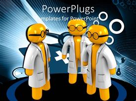 Colorful presentation theme having depiction of three human doctors in yellow with animated background