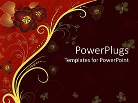 Audience pleasing presentation theme featuring a depiction of various flowers with dark colored background