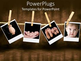 Colorful PPT layouts having depictions of pregnant woman belly, newborn held on hands, family feet and infant face held by wooden clothespins on a rope on a vintage background