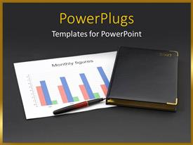 Colorful presentation having diary together with financial chart and pen with dark grey color