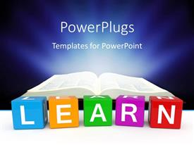 Amazing presentation theme consisting of different color cubes with learn keyword and open book over dark background