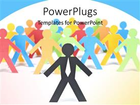 Beautiful slide set with different colored paper men stand together with leader over white background