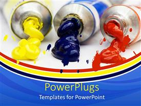 Presentation design featuring different paints along with colorful background