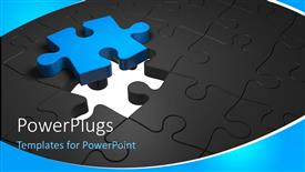 PPT layouts with blue missing puzzle piece on black jigsaw puzzle