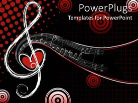 Colorful presentation design having different shapes of musical notes with love, Red and black background