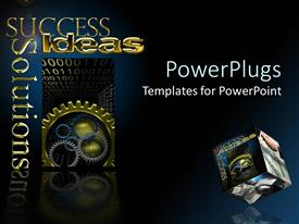 PPT theme having different sizes and colors of gears with success text