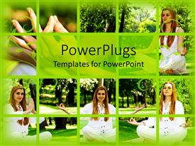 Amazing PPT theme consisting of different tiles showing different angles of a lady doing yoga
