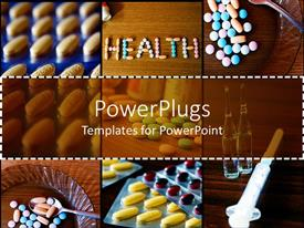 Presentation design enhanced with different tiles showing different medical pills and a syringe