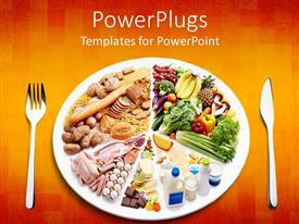 Colorful PPT layouts having different types of food in a plate with a fork and knife on the side