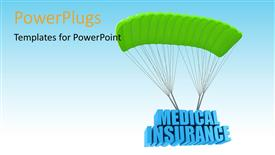Presentation theme consisting of a parachute with medical insurance and sky in background