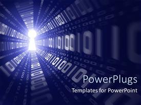 Elegant PPT theme enhanced with digital depiction of binary data running through a light keyhole