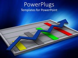 Audience pleasing PPT theme featuring digital depiction of graphic chart with colored bars and blue arrow