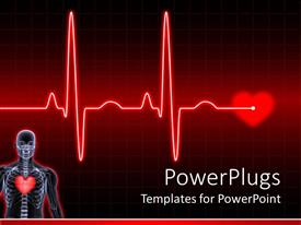 Elegant presentation theme enhanced with digital human body with heard and electrocardiogram on the middle of a dark red background