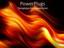 Theme consisting of digital representation of fire flames with mixed yellow, orange and red colors over black background